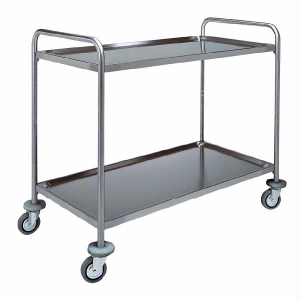Carrello in acciaio inox 2 piani in forma di vassoio con for 2 piani di costruzione di edifici in metallo