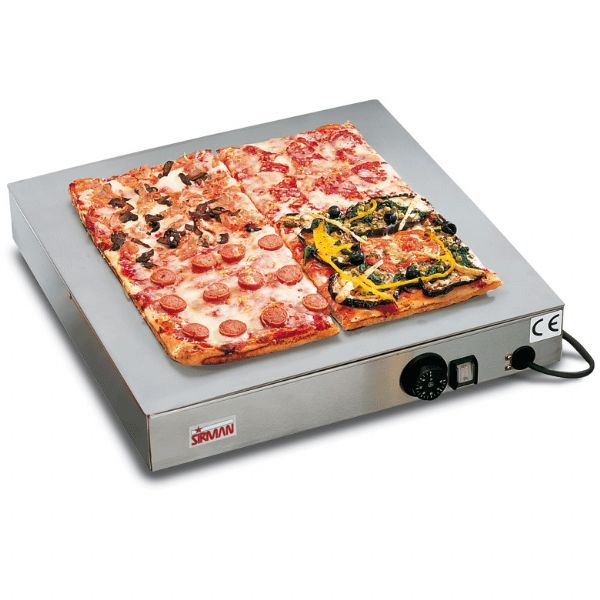 Piastra scalda pizza Sirman con piano in vetro temperato inox cm 50x50